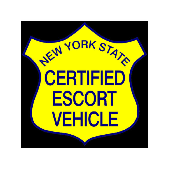 New York State Certified Escort Magnetic Vehicle Sign, Black Background