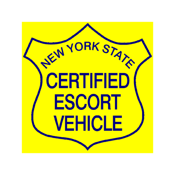 New York State Certified Escort Magnetic Vehicle Sign, Yellow Background