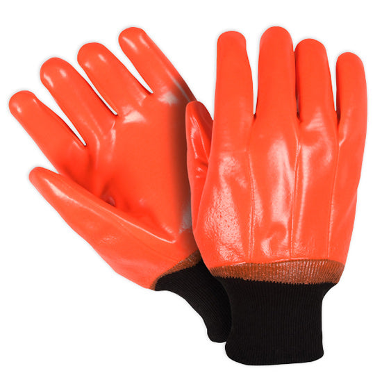 Southern Glove OPVCFCKW Fluorescent Orange PVC Coated Knit Wrist Gloves