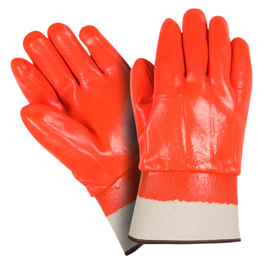 Southern Glove OPVCFCSC Fluorescent Orange PVC Coated Safety Cuff Gloves