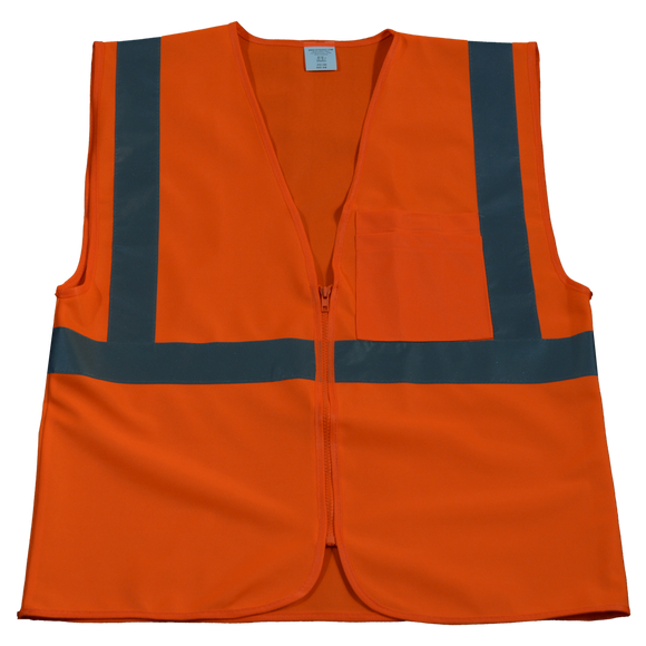 Petra Roc OV2-CB0/OVM2-CB0 ANSI/ISEA 107-2010 Class 2 Safety Vest Zipper Closure, Solid Front
