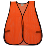 Non-ANSI Rated Orange Economy Mesh Safety Vests, Front