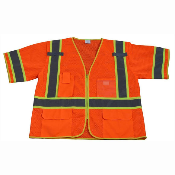 Petra Roc OVM3-CB1 ANSI/ISEA 107-2010 Class 3 Two Tone DOT Surveyors Safety Vest, Deluxe, Front