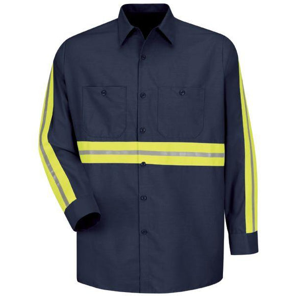 Red Kap SP14 Long Sleeve Enhanced Visibility Industrial Work Shirt