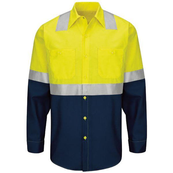 Red Kap SY14 Hi-Visibility Long Sleeve Colorblock Ripstop Work Shirt