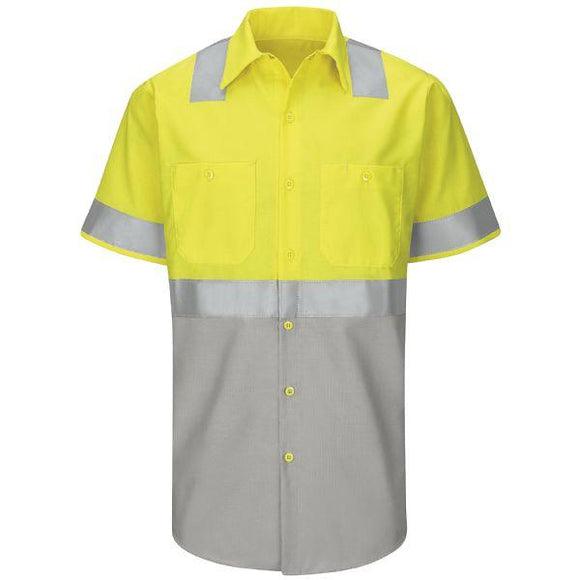 Red Kap SY24 Hi-Visibility Short Sleeve Colorblock Ripstop Work Shirt