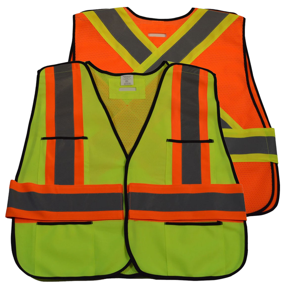 Petra Roc ANSI & CSA Public Safety Vest, Solid Front Mesh Back