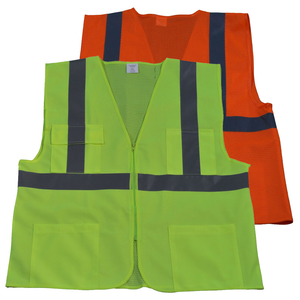 Petra Roc ANSI Class 2 Front Solid Mesh Back 4-Pocket Safety Vest