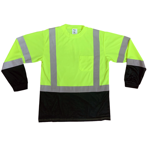Petra Roc LBTSL3 Class 3 Hi Vis Mesh Black Bottom Long Sleeve Shirt