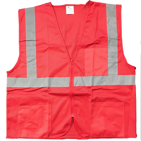 Petra Roc RVM-S1 Non-ANSI Enhanced Visibility Red Mesh Safety Vest