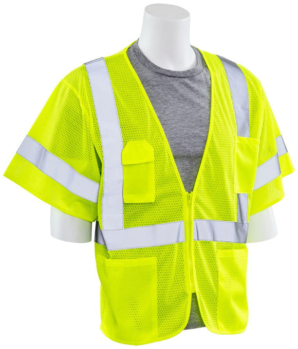 ERB S663P ANSI Class 3 Mesh Safety Vest with Zipper