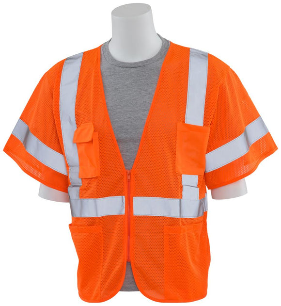 ERB S663P ANSI Class 3 Orange Mesh Safety Vest with Zipper