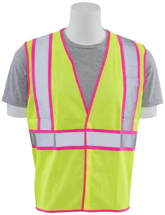 ERB S730 ANSI Class 2 Unisex Safety Vest with Pink Trim
