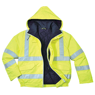Portwest US773 Bizflame Rain Hi-Vis Anti-Static FR Bomber Jacket