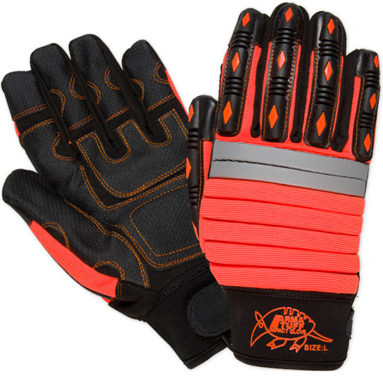 Southern Glove TPMECHO Arma Tuff Hi Vis Orange PVC Palm Impact Gloves