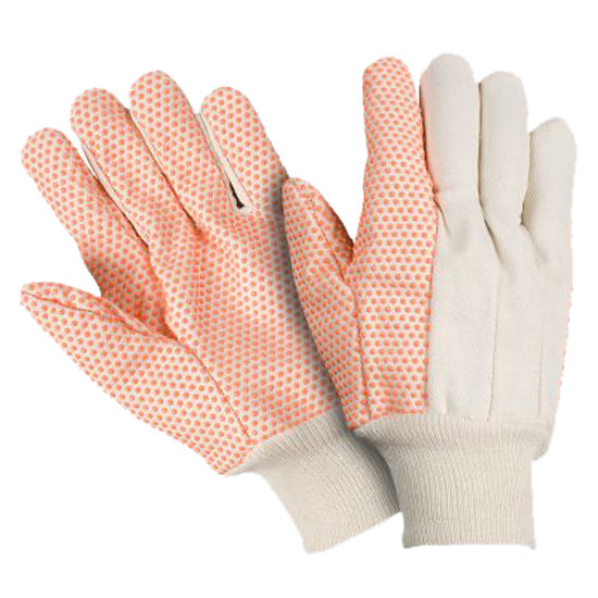 Southern Glove USD103 Medium Weight Canvas Knit Wrist Gloves with Orange PVC Dots