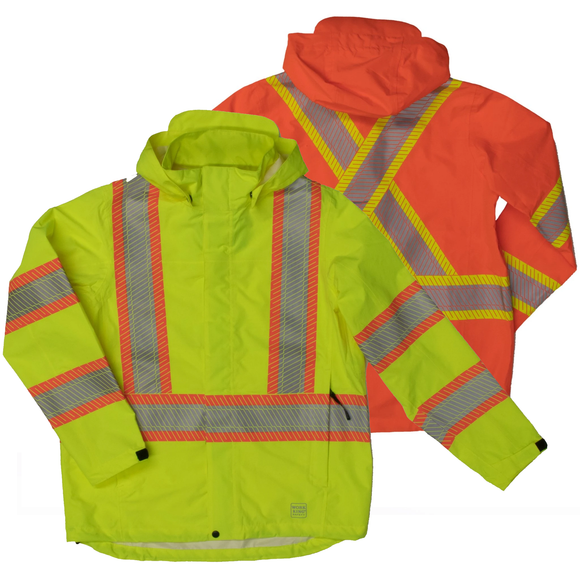 Work King SJ05 Class 3 HiVis Packable Rain Jacket