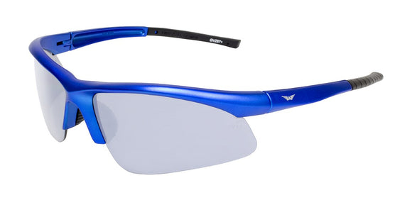 Global Vision Ambassador Metallic Safety Glasses with Clear Lenses, Blue Frames