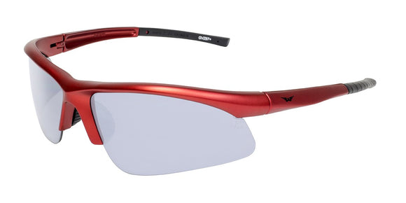 Global Vision Ambassador Metallic Safety Glasses with Clear Lenses, Red Frames
