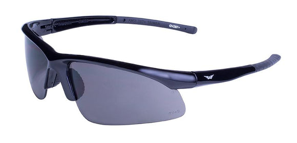 Global Vision Ambassador Safety Glasses with Smoke Lenses, Gloss Black Frames