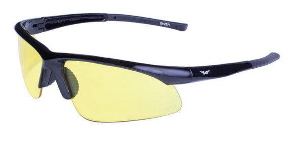 Global Vision Ambassador Safety Glasses with Yellow Tint Lenses, Gloss Black Frames