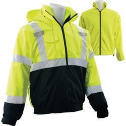 ERB W530B ANSI Class 3 Black Bottom High Visibility Bomber Jacket