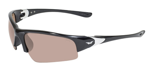 Global Vision Cool Breeze Safety Glasses with Driving Mirror Lenses, Gloss Black Frames