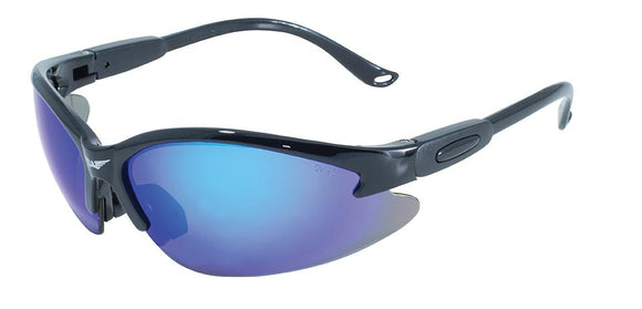 Global Vision Cougar GT Safety Glasses with G-Tech Blue Lenses, Gloss Black Frames