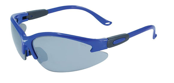 Global Vision Cougar Blue FM Safety Glasses with Flash Mirror Lenses, Blue Frames