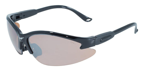 Cougar Safety Glasses with Driving Mirror Lenses, Gloss Black Frames