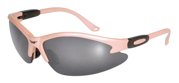 Global Vision Cougar Light Pink Safety Glasses with Smoke Lenses, Light Pink Frames