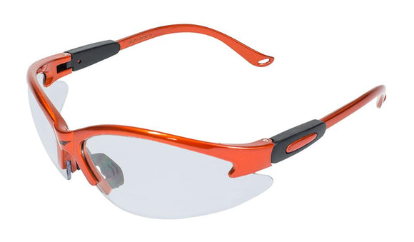 Global Vision Cougar Orange CL Safety Glasses with Clear Lenses, Orange Frames