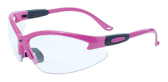 Global Vision Cougar Pink Bifocal CL A/F Anti-Fog Safety Glasses with Clear Lenses, Gloss Pink Frames