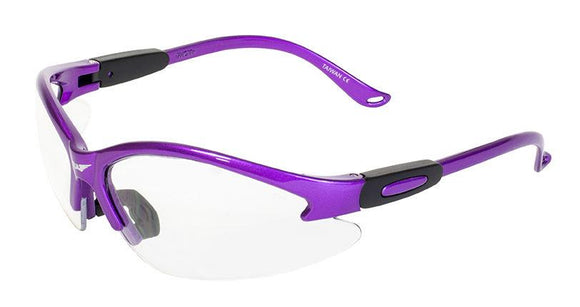 Global Vision Cougar Purple Safety Glasses with Clear Lenses, Purple Frames