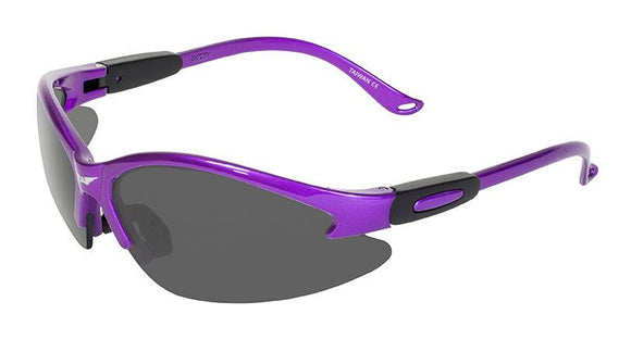 Global Vision Cougar Purple Safety Glasses with Smoke Lenses, Purple Frames