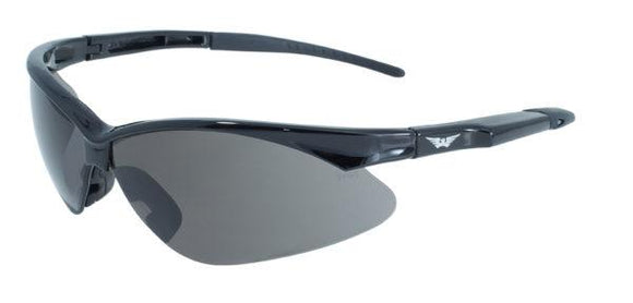 Global Vision Fast Freddie Safety Glasses with Smoke Lenses, Gloss Black Frames