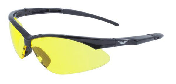 Global Vision Fast Freddie Safety Sunglasses with Yellow Tint Lenses, Gloss Black Frames