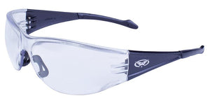 Global Vision Full Throttle Safety Glasses with Clear Lenses, Black Frames