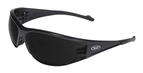 Global Vision Full Throttle Safety Glasses with Super Dark Lenses, Black Frames