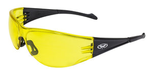 Global Vision Full Throttle Safety Glasses with Yellow Tint Lenses, Black Frames