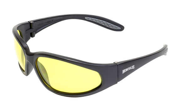 Global Vision Hercules 1 24 Safety Glasses with Yellow Photochromic Lenses, Matte Black Frames