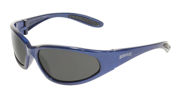 Global Vision Hercules 1 Blue Safety Glasses with Smoke Lenses, Gloss Blue Frames