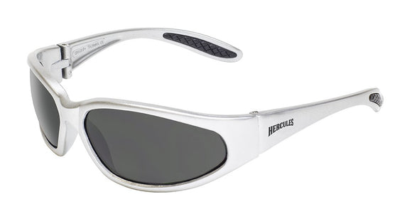 Global Vision Hercules 1 Silver Safety Glasses with Smoke Lenses, Gloss Silver Frames