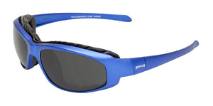 Global Vision Hercules 2 Plus Metallic Safety Glasses with Smoke Lenses, Blue Frames