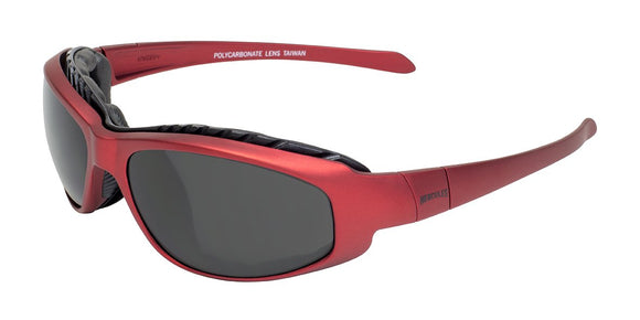 Global Vision Hercules 2 Plus Metallic Safety Glasses with Smoke Lenses, Red Frames