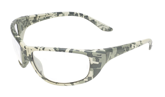 Global Vision Hercules 6 Digital Camo Safety Glsases with Clear Lenses, Digital Camo Frames