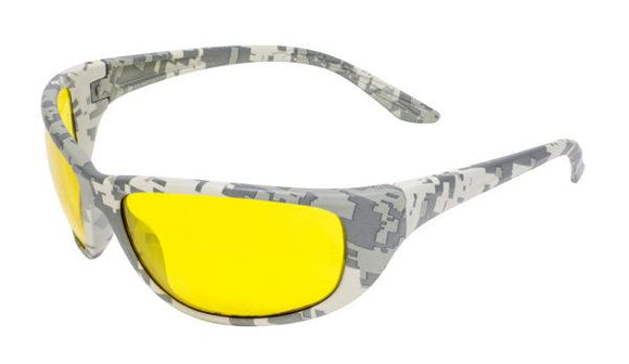 Global Vision Hercules 6 Digital Camo Safety Glasses with Yellow Tint Lenses, Digital Camo Frames