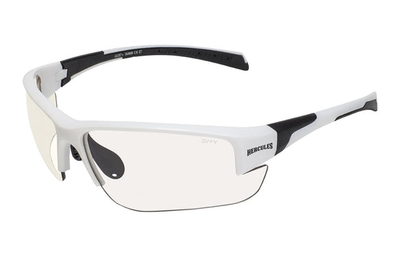 Global Vision Hercules 7 24 Safety Sunglasses with Clear Photochromic Lenses, Matte White Frames