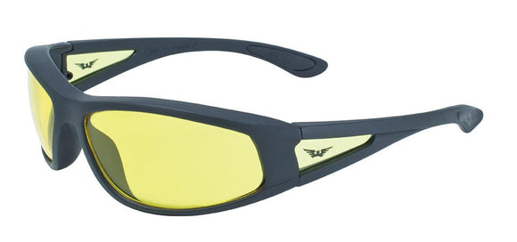 Global Vision Integrity 2 Safety Glasses with Yellow Tint Lenses, Black Frames