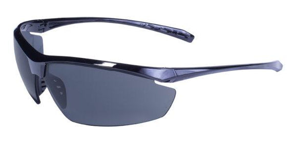 Global Vision Lieutenant Safety Glasses with Smoke Lenses, Gloss Black Frames